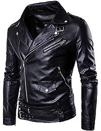 Homme Blouson Imitation Cassé Veste Jacket Moto Zippé Motard Cyclisme Simili Col Cuir Wslcn De d0xUdX