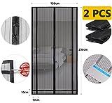 Sekey 2PCS 220 x 130 cm Magnetvorhang zum Insektenschutz, idealer magnetischer Fliegengitter für Balkontür, Kellertür, Terrassentür (zuschneidbar in Höhe und Breite) durch kinderleichte Klebemontage.