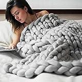 samLIKE Chunky gestrickte Decke dickes Garn Merino Wolle sperrige Stricken werfen 80x100cm (Grau)
