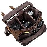 Kameratasche/Schultertasche aus Segeltuch, stoßfest, Vintage-Stil, SLR/DSLR, braun (Braun) -...