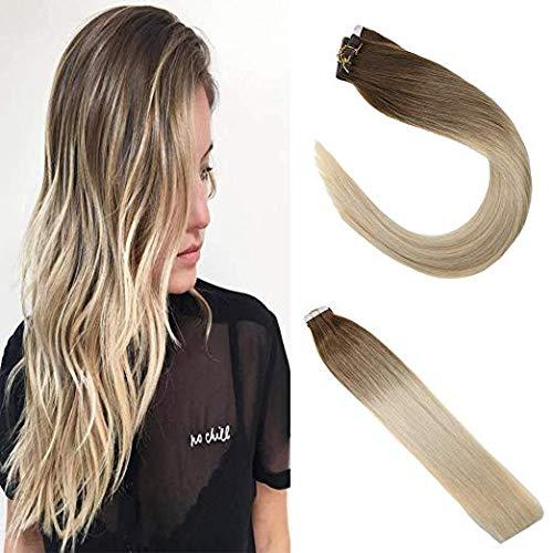 Sunny tape extension adesivo capelli veri marrone medio con candeggina bionda 24