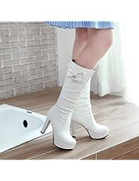 QIN&X Puntera redonda mujer Tacones Talón de bloque largo botas zapatos