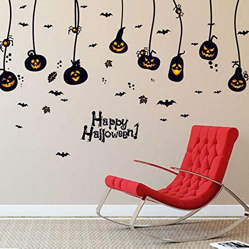 Yzybz Happy Halloween Party Aufkleber Für Schlafzimmer Kürbis Fledermäuse Spinne Kronleuchter Diy Wand Fenster Aufkleber Pvc Aufkleber Kinderzimmer Dekor