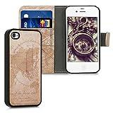 kwmobile Coque Apple iPhone 4 / 4S - Étui Portefeuille Détachable pour Apple iPhone 4 / 4S avec Compartiment Carte et Fonction Support