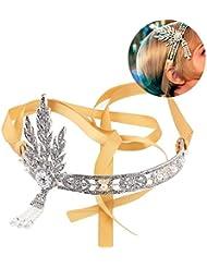iEFiEL Silver 1920s Flapper Vintage Great Gatsby Kristall Perlen Kronen Stirnband Haarband Braut Haarschmuck Hochzeit