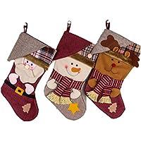 3 Stück Nikolausstiefel zum Befüllen OULII Weihnachtsstrumpf Weihnachtsdekoration