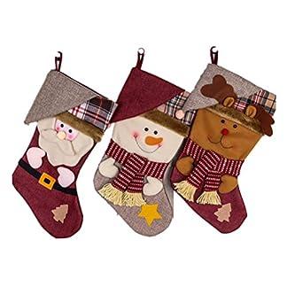 OULII Medias de Navidad Grande Adorno Colgante Decoración de Navidad Papa Noel Renos Muñeco de Nieve 3 Unidades
