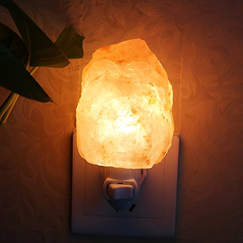 Salz Lampe, Aohro Mini Salzlampe Hand geschnitzte Natürliche Kristall Salz Nachtlicht Stimmungslicht mit EU-Stecker für Schlafzimmer Home Office Küche(Natural-Form) -