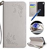 Etsue Handytasche für Sony Xperia XA1 Rose Blume Schmetterling Brieftasche Hülle,Sony Xperia XA1...