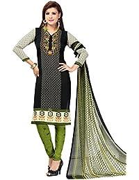 A K Designer Women's Chiffon Dress Material (Mehak1010_Free Size_Black)