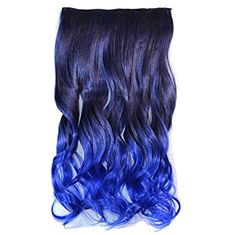Curly Ombre Due tonalità, One Piece, Clip in, Extension Hairpieces Black to Dark Blue