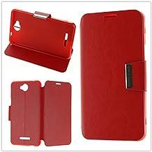 MISEMIYA - Funda Vodafone Smart 4 Max Libro Agenda Soporte - Rojo