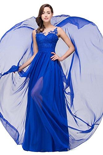 Babyonlinedress Elegant Robe de soirée/Bal/Cérémonie Longue Dos Nu avec traîne en mousseline de soie, avec Appliques Dentelle Bleu Royal
