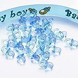 50pcs Mini Sucettes Décorations pour Baptême Douche de Bébé (Bleu)