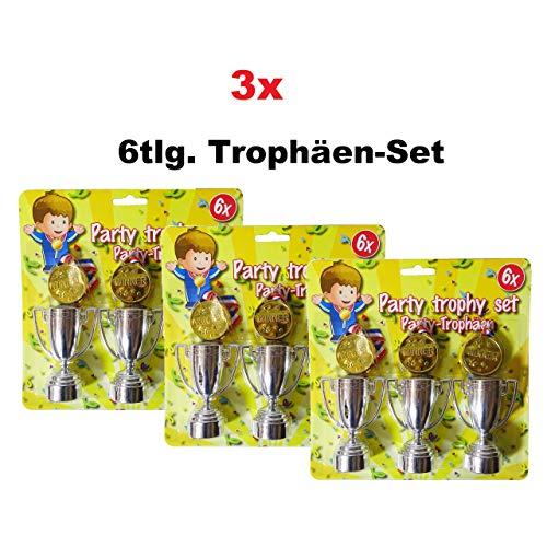 rophäen Set Kinder Pokale Medallien Geburtstag Party Tombola Mitgebsel ()