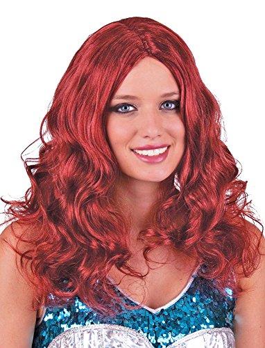 Langhaar Locken Perücke Eireen - Rot - Feurige Damenperücke zu Meerjungfrau Hexe Nixe Kostüm Steampunk Karneval Mottoparty Halloween (Rote Kostüm Halloween Hexe)