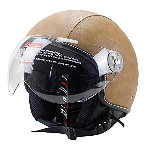 Cascos de bicicleta Hombres, Casco de motocicleta Cascos integrales de cuero vintage con gafas Casco de moto para hombres y mujeres Adecuado para montar en bicicleta de esquí Skate Skateboard @ C_Xxl
