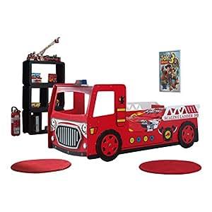 Autobett Bett scft201neuen Feuerwehrmann MDF Rot 223x 101x 101cm