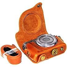 First2savvv XJPT-G9X-09 Funda Cámara cuero de la PU cámara digital bolsa caso cubierta con correa para Canon PowerShot G9X G9 X marrón