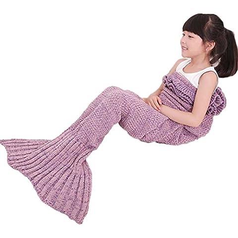 Mermaid Tail Coperta con increspature per i bambini, a mano a maglia caldo divano Genera Soggiorno sacco a pelo 135 x 65 cm(Lavanda (bambini))
