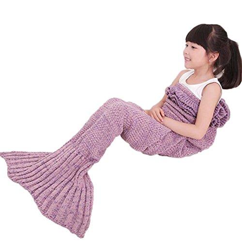 Mermaid Schwanz Decke mit Rüschen für Kinder, handgemachte gestrickte warme Sofa wirft Wohnzimmer Schlafsack 135cmX65cm(Lavendel(Kinder))