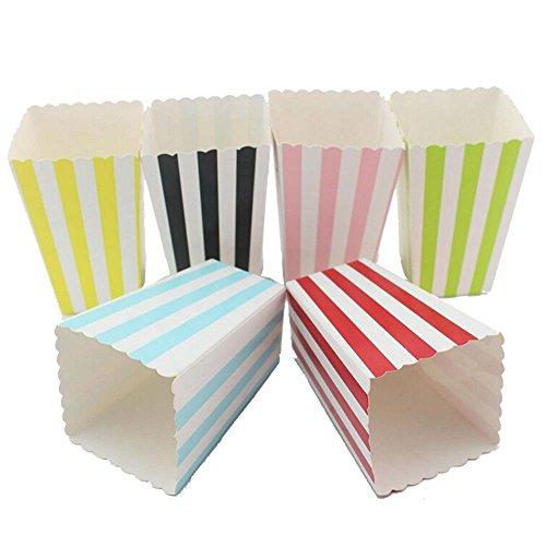 EOPER Popcorn-Behälter, 72 Stück, aus Papier, Popcorn-Tüten für Party, Film, Nacht, Babyparty, 6 Farben