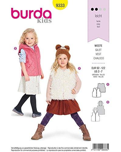 Burda 9333 Schnittmuster Kinder-Weste und Steppweste (Kids, Gr. 86-116) Level 2 leicht -