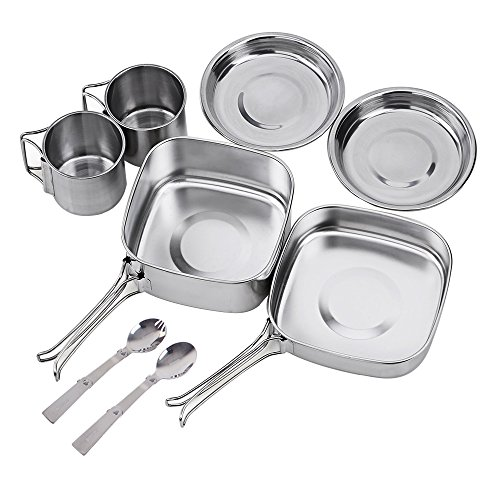 NATUREFUN Camping Mini Cookware Mess Kit Stainless Steel Backpacking Cooking Tool Set Pot Pan Spork Cup Picnic Cooking Equipment 8 Piece Cookset for Hiking Outdoors