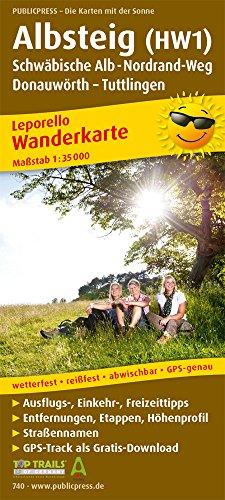 Albsteig (HW1), Schwäbische Alb-Nordrandweg, Donauwörth - Tuttlingen: Leporello Wanderkarte mit Ausflugszielen, Einkehr- & Freizeittipps, wetterfest, ... 1:35000 (Leporello Wanderkarte / LEP-WK)