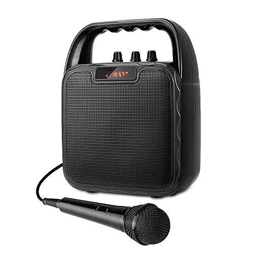 Altavoz Karaoke bluetooth inalámbrico con Micrófono Portátil, Reproductor MP3 de Puertos USB, SD, TF, Bluetooth y aux-in para fiestas, karaoke, bodas, Batería Recargable