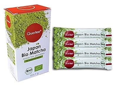 Quertee® - Thé le Japon Bio Thé Matcha en poudre – 10 x 1 g en Matcha Stick – Japonais Thé Vert en Poudre