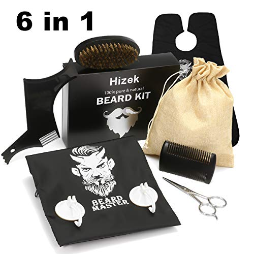 Bartpflege Set (6-Teilig), Wildschweinborsten Bartbürste, Bartkamm, Bart Schablone, Bartschere, Bartschürze für Männer, Bart Styling Werkzeug mit Reisetasche, Ideal auch als Geschenk