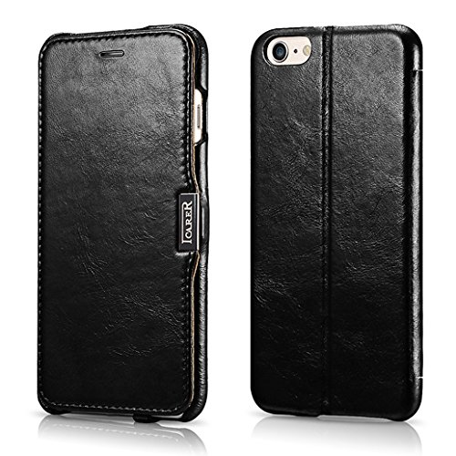 FUTLEX Premium-Folio-Hülle aus Leder, kompatibel mit iPhone 6 Plus / 6S Plus - Klapphülle aus echtem Vintage-Style-Leder mit Magnetverschluss - Vollständiger Schutz - Schwarz