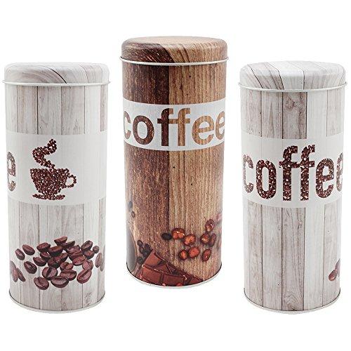 COM-FOUR 3x Kaffeepaddosen, Dekodose, Aufbewahrungsbehälter für Kaffeepads im Vintage Look in...