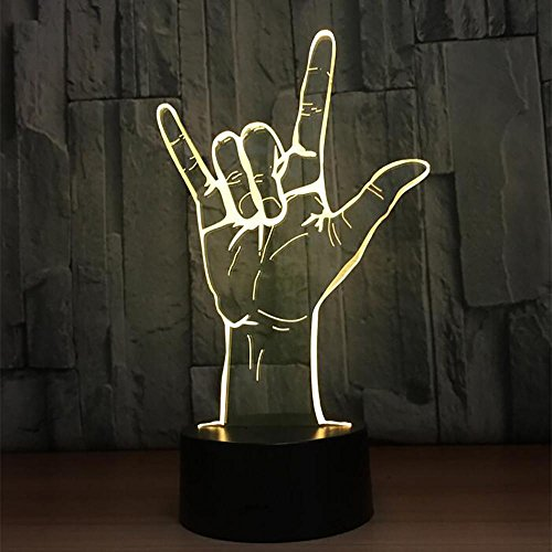LPY-3D-Effekt Lampe optische LED Hand Modell Glühlampen 7 Farbe ändern für Kinder Home Dekoration Geburtstagsgeschenk
