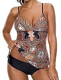 6cb3daa75cd6 Leslady Maillot de Bain Tankini Imprimé Deux Pièces avec Lacet Push Up  Beachwear Pour Femme