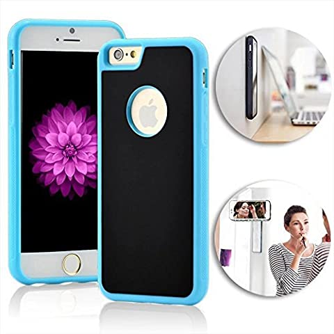 Self-adhesive Coque pour iPhone 6 Plus Anti-Gravity Case iPhone 6S Plus Anti-Slip Couverture iPhone 6 Plus Nano-suction technology Etui iPhone 6S Plus Retardateur Selfie Universal Case,Vandot iPhone 6 Plus/6S Plus 5.5 Pouces Innovation auto-adhésives Housse-noir+bleu Bumper