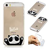 SpiritSun iPhone 5 Hülle, iPhone SE Schutzhülle, TPU Flexible Silikon Case Etui Schutz Durchsichtige Tasche Transparente mit Muster Handyhülle Clear Cover Motiv-Hallo Panda