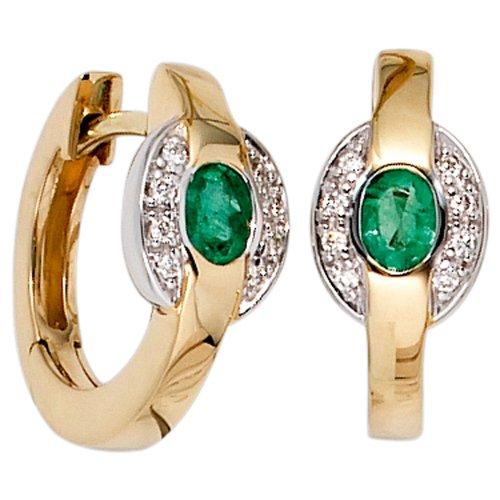 JOBO orecchini{585} oro giallo rodiato{16} thuppaki-brillanti{2} smeraldi orecchini