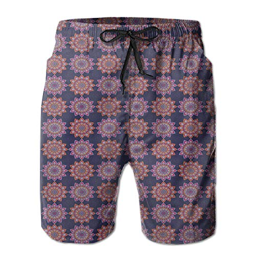 jiger Mens Beach Shorts Swim Trunks,Ethnic Floral Abstract Ornamental Pattern Old Fashioned Bohemian Folkloric Art,Summer Cool Quick Dry Board Shorts Bathing SuitXL