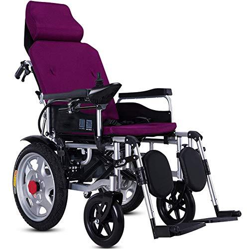 Aajolg Intelligente Elektrorollstuhl Faltbar Leicht, Kann sitzen und liegen Elektro Mobilitätshilfe Elektrischer Rollstuhl, Medizinischer Leichte Roller,Tragbare Ältere Behinderte Hilfe Auto,Purple
