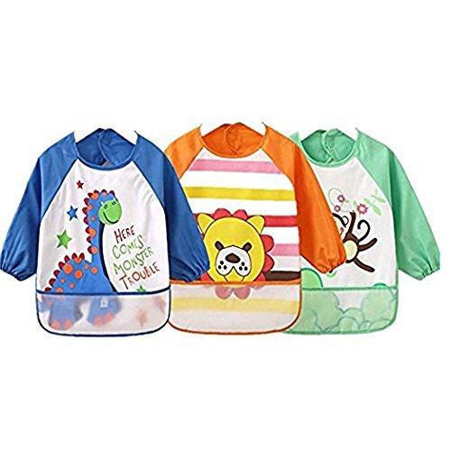 Unisexe Pour enfant Arts Craft Tablier Peinture bébé imperméable Bavoirs avec manches et poche, 6-36 mois, Jaune, Lot de 3