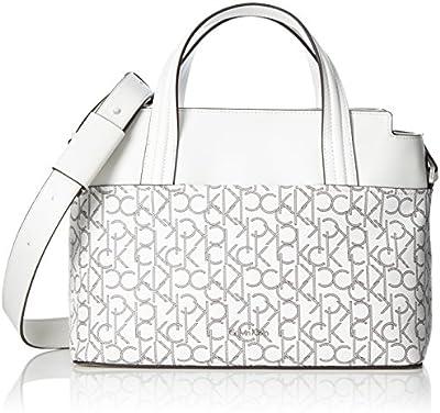 Calvin Klein TIN4 Mono Medium Tote, Bolsa para Mujer, Blanco (White Monogram), 16 x 25 x 33 cm (b x h x t)