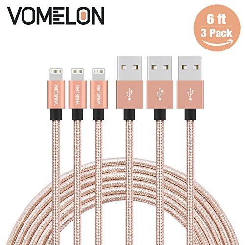 Lightning Kabel, 3Pack 6FT Tangle-Free Nylon geflochtene Schnur Lightning zu USB-Ladekabel Kompatibel mit iPhone 7/7 Plus / 6S / 6 Plus, SE / 5S / 5, iPad, iPod Nano 7 Rosen Iphone 4 Fall