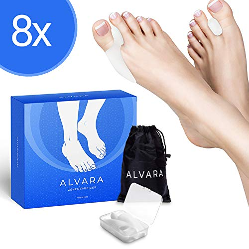 ALVARA® Verbesserte Hallux Valgus Zehenspreizer [8x] - 2 verschiedene Modelle - Schmerzfreier Laufen - Für Tag & Nacht