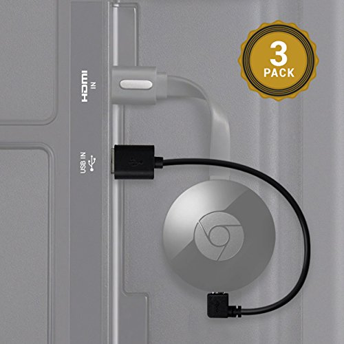 Cable USB Exinoz Chromecast- cable USB de 8 pulgadas diseñado para alimentar su Google Chromecast en el Streaming HDMI Media Player de su puerto USB TV (3 Pack)