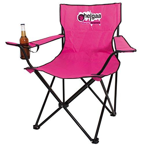 helgaa Campingstuhl 'Klappsattel' pink, mit Getränkehalter und Flaschenöffner