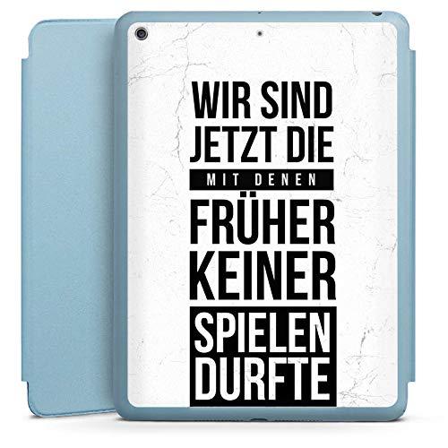 DeinDesign Smart Case hellblau kompatibel mit Apple iPad 2018 Hülle Tasche mit Ständer Smart Cover Humor Fun Phrases