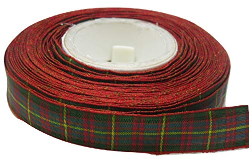 Beautiful Ribbon 2 mètres x 16mm Ruban Rouge/Vert Tartan Double Face Cameron 16 mm