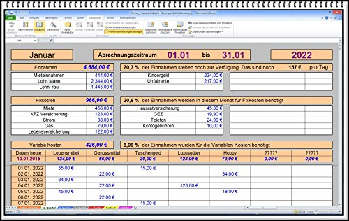 Digitales PC Computer Haushaltsbuch tägliche Ausgaben Einnahmen Monatsübersicht Jahresübersicht mit Statistik Budgetplaner für Haushalt und Familien Programm zur Kostenübersicht einfach zu bedienen